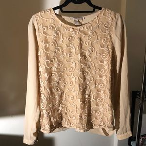 Tan Embroidered Blouse